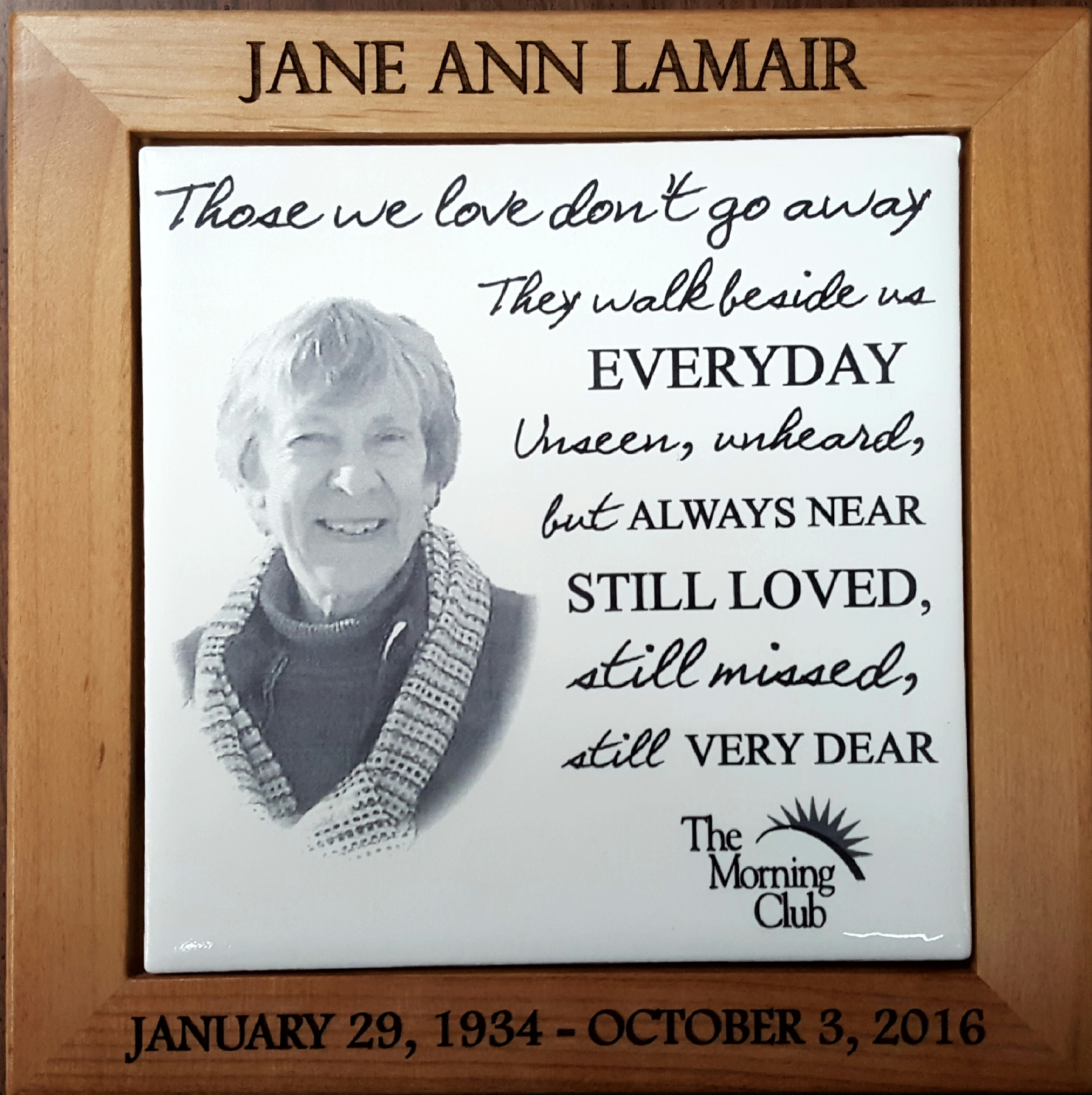 White tile Plaque with Engraved Frame 6x6