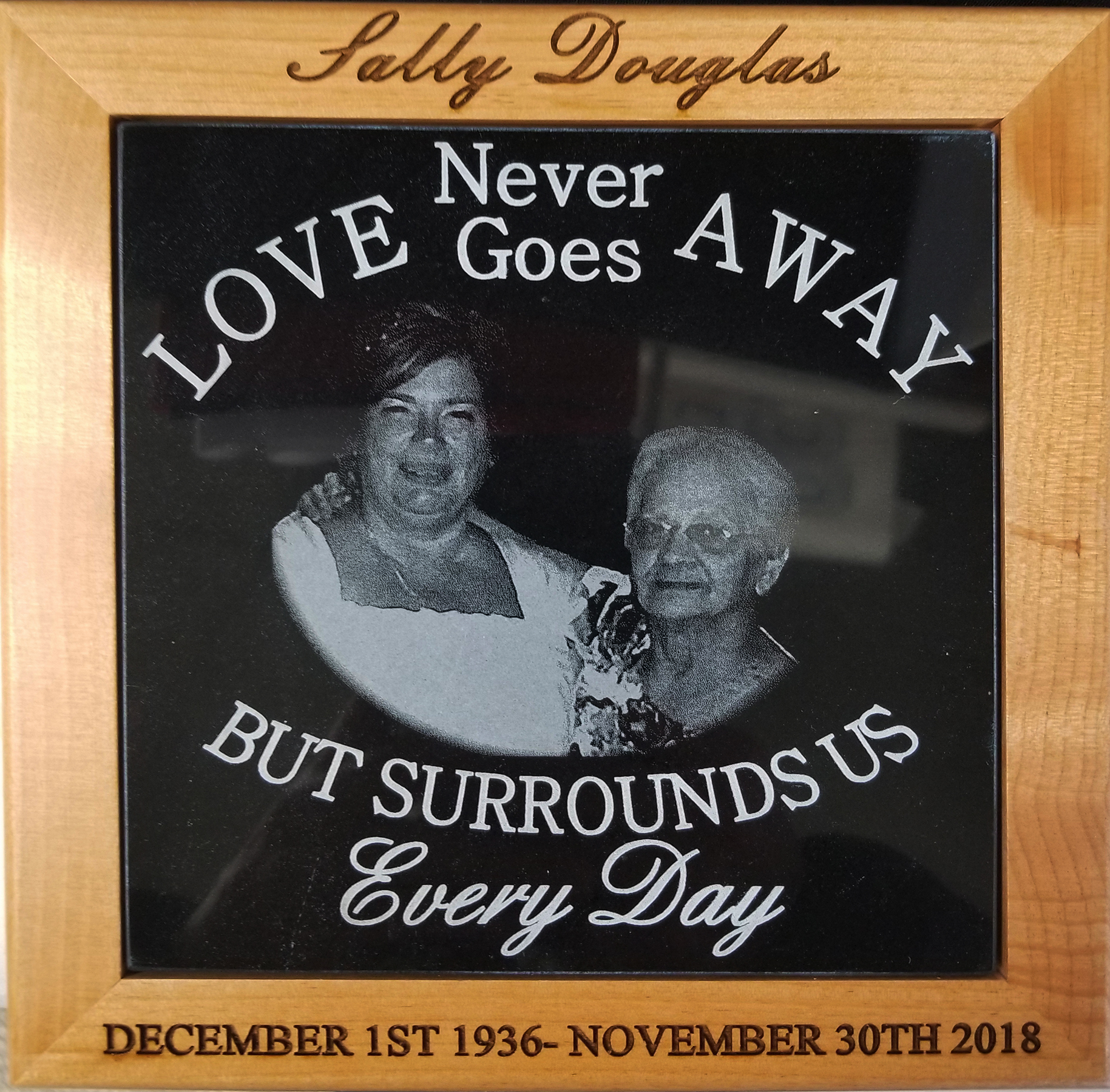 Black Marble Plaque with Engraved Frame 8x8 size