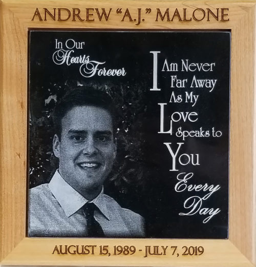 Black Marble Plaque with Engraved Frame 6x6 size