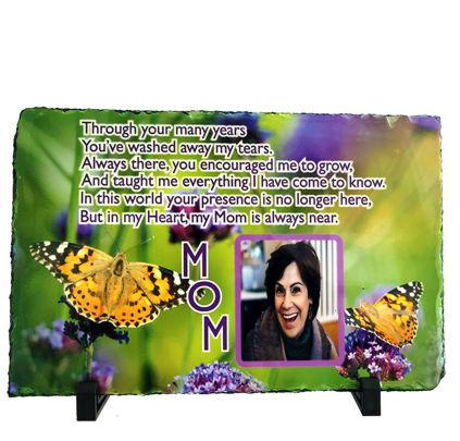 Natural Slate Rectangular Photo Plaque with stand  7.8